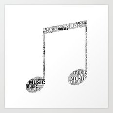 Typographic music note Art Print