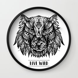 Mandala Tiger Live Wild Wall Clock