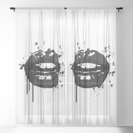 Black and white glamour fashion lips Sheer Curtain