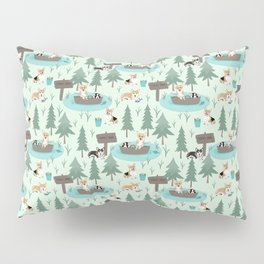 Majesty Pembroke - Happy Corgis Are Fishing In Forest Lake Pillow Sham