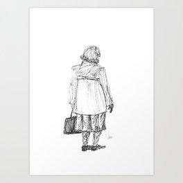 Lady with Bag Art Print