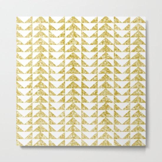 Gold geometric pattern Metal Print