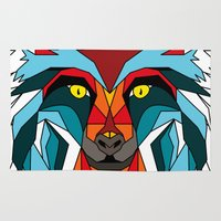 wolf Area & Throw Rugs featuring Wolf by mark ashkenazi