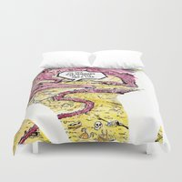 smaug Duvet Covers featuring Smaug and Bilbo by Rob O'Connor