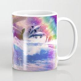 Rainbow Laser Space Cat On Unicorn Eating Taco Coffee Mug
