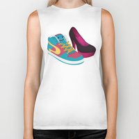 shoe Biker Tanks featuring Shoe Lovin' by mrbiscuit