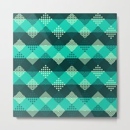 Green strips and geometric abstract pattern Metal Print