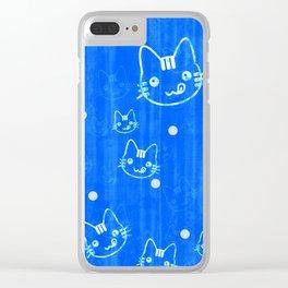 Blue Cat Pattern Clear iPhone Case