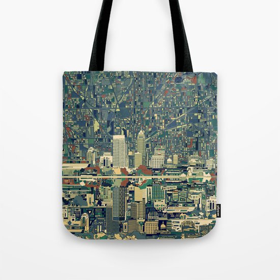 indianapolis city skyline green Tote Bag