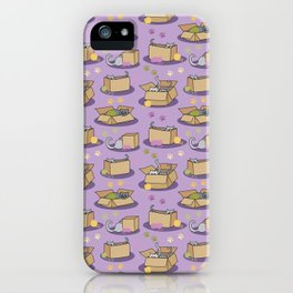 Cats in Cardboard Boxes with Yarn iPhone Case