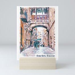 Carrer del Bisbe - Barcelona Mini Art Print