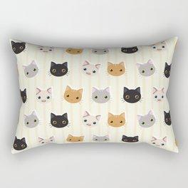 Cute Kitten & Stripes Pattern Rectangular Pillow
