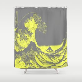 The Great Wave Yellow & Gray Shower Curtain