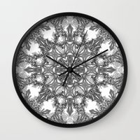 snowflake Wall Clocks featuring Snowflake   by ArtLovePassion
