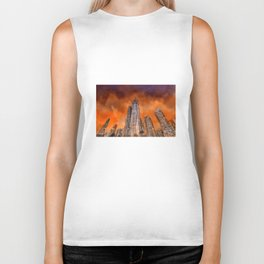 City in sunset Biker Tank