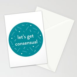 let's get consensual - teal Stationery Cards
