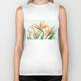 bird of paradise flower painting Biker Tank
