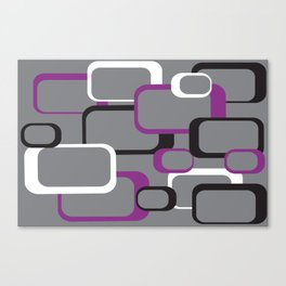 Violet Purple White Black Retro Square Pattern Gray Canvas Print