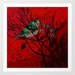 A bird in the bush Art Print