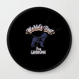 Worlds Best Pug GRANDMA Wall Clock
