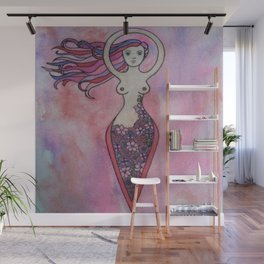 Pink and red floral spiral goddess Wall Mural