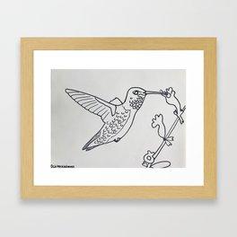 Broad tailed Hummingbird B&W Framed Art Print