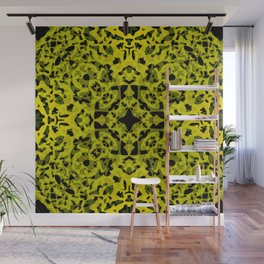 Complex ornament of yellow spots and velvet blots on black. Wall Mural