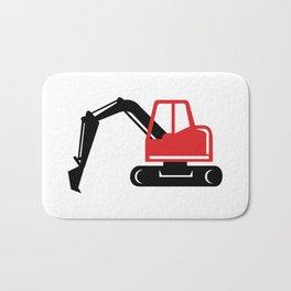 Mechanical Excavator Digger Retro Icon Bath Mat