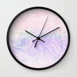 Hand painted white blush pink lavender watercolor floral Wall Clock