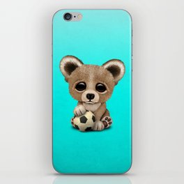 Cute Baby Bear With Football Soccer Ball iPhone Skin