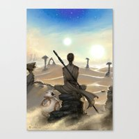 starwars Canvas Prints featuring StarWars - Rey by Sonia MS