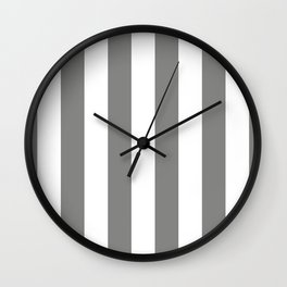 Large Battleship Gray and White Vertical Cabana Tent Stripes Wall Clock