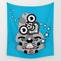maori Wall Tapestries featuring Hei Tiki New Zealand Drum by mailboxdisco