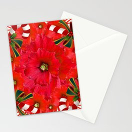 RED HOLIDAYS CANDY CANES & RED  FLOWER ABSTRACT Stationery Cards