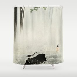 Bird and Waterfall -Vintage Japanese Woodblock Print  Shower Curtain