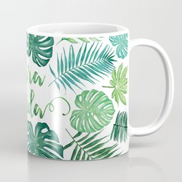 Tropical Pura Vida Palm Leaves and Monstera Watercolor Coffee Mug