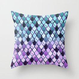 Purple Teal Mermaid Princess Glitter Scales #1 #shiny #decor #art #society6 Throw Pillow