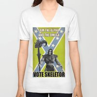skeletor V-neck T-shirts featuring Vote Skeletor by Itomi Bhaa