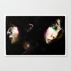 Face to Face Women Dark Digital Painting Canvas Print