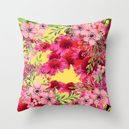 FUCHSIA-PINK FLOWERS YELLOW ART PATTERNS Throw Pillow