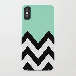 MINT GREEN COLORBLOCK CHEVRON iPhone Case