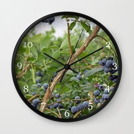 summer fruitful blueberry bushes. blueberry farm photography.  Wall Clock