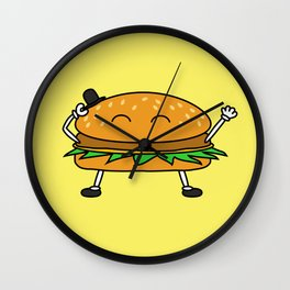 Burger with Hat Wall Clock