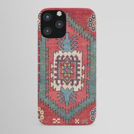 Tribal Honeycomb Palmette IV // 19th Century Authentic Colorful Red Flower Accent Pattern iPhone Case
