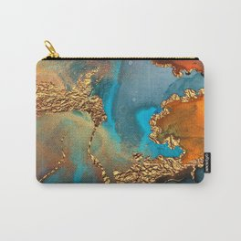 Abstract Blue And Gold Autumn Marble Carry-All Pouch