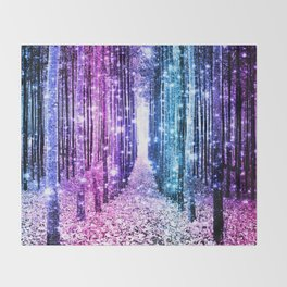 Magical Forest : Aqua Periwinkle Purple Pink Ombre Sparkle Throw Blanket