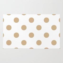 Polka Dots - Tan Brown on White Rug