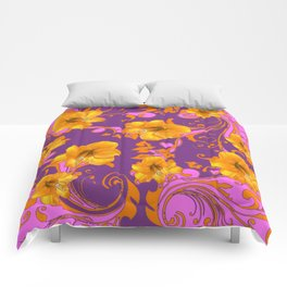 TROPICAL YELLOW & GOLD AMARYLLIS FLOWERS PATTERN Comforters
