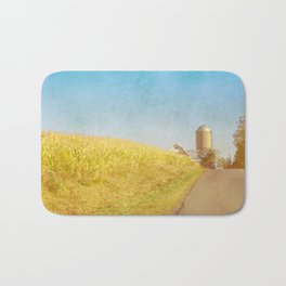 Golden Yellow Cornfield and Barn with Blue Sky Bath Mat