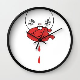 Hungry Bunny - funny cartoon drawing of cute bunny rabbit eating a heart of unknown provenance Wall Clock
